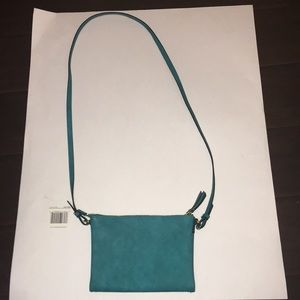 Teal /Turquoise color cross body goldtone hardware